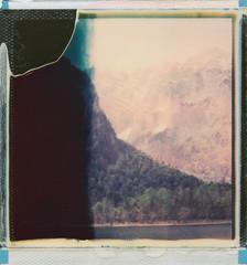 Mountains (SX-70) (mmartinsson) Tags: 2018 sx70 lake whiteframe alps mountains scan color instantfilm colour epsonperfectionv700 polaroid analoguephotography film originals schönauamkönigssee bayern tyskland de