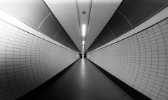 Appointment - London Underground by Simon Hadleigh-Sparks (Simon Hadleigh-Sparks) Tags: tunnel tube underground urban city london round circle architecture indoor lines monochrome passage rings simonandhiscamera symmetry abstract 360 blackandwhite bw interior vanishingpoint leadinglines ceiling wall