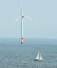 Offshore Wind Turbine and Yacht (Gilli8888) Tags: nikon p900 coolpix nature northeast northumberland water yacht boat offshore turbine windturbine coast coastal shore shoreline sails northsea