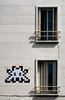 Parasite. (Canad Adry) Tags: vincennes carl zeiss contax cy planar 50mm f14 space invader window wall sun portrait mosaic mur immeuble building fenêtre sony alpha a6000 classic vintage old manual lens soleil ombre shadow balcon city ville street color