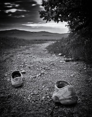 ...on the road... (ngabor_gnagygbr) Tags: blackandwhite shoe outdoors nature nopeople landscape travel men scenics everypixel