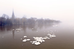 Freshet and Fog (Boganeer) Tags: freshet fog river ice glace snow flood steeple trees neige church cathedral skyline waterfront water stjohnriver spring melt fredericton newbrunswick nouveaubrunswick maritimes maritime atlanticcanada canada canon canoneos canon6d