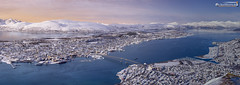 Tromsø from above on a winter evening (dieLeuchtturms) Tags: fjord schnee norwegen winter europa troms panorama 17x6 meer europe norge norway sea snow tromsø no