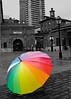 Rainbow Umbrella 2 (Rackelh) Tags: umbrella rainbow distillery architecture blackwhite conceptual buildings