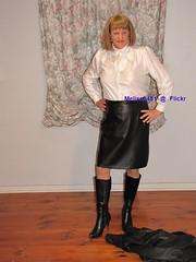 Leather Suit 11f (Melissa451) Tags: boots leatherskirt secretary leathersuit satinblouse whitesatin whiteblouse pussybowblouse