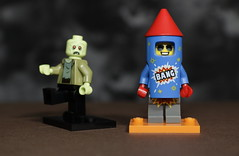 Fireworks are great bur some folks have to work (N.the.Kudzu) Tags: tabletop lego minifigures zombie firecrackerboy canondslr canonefslenses flash
