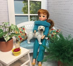 Nina and her puppy (Foxy Belle) Tags: wicker barbie furniture repainted ooak diorama room plants inside window brick paint pillows setee white blue chan licca body skipper clothes dog 1980s yukko nina ballerina