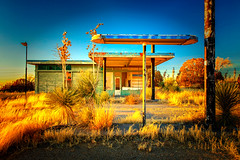 Self Service (KPortin) Tags: hss abandonedbuilding gasstation yucca grass deteriorated organnewmexico newmexico sunset