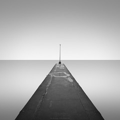 Lamp on end of pier (*Jin Mikami*) Tags: monochrome square landscape sea seascape minimalism surreal photoshopped japan pentax bw bnw black white symmetry fineart