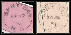 Nova Scotia Postal History - 27 September 1946 / 30 June 1951 - Late Example of the Split Ring Cancel and Early Example of the CDS cancel from SPRY BAY (Halifax County), Nova Scotia (Treasures from the Past) Tags: circulardatestamp postalwayoffice postmaster postoffice novascotia postalhistory ns county splitring brokencircle splitcircle postmark cancel cancellation marking son mail letter stamp canada novascotiapostalhistory canadapost sprybay halifaxcounty