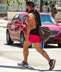 Sumo, Jr (LarryJay99 ) Tags: 2018 beach streets people ftlauderdale ocean atlanticocean reds walking legs men male man guy guys dude dudes manly virile studly stud masculine sexyman baggy sagger bulge bulges handsome bearded hairy facialhair hairyman