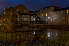 Water Garden (CEWWtyke) Tags: water garden pond lake reflections building buildings house houses bridge lights sky dark night cityscape urban communal plants lilies lily pad pads iris leeds west yorkshire westyorkshire uk england outdoor landscape architecture planning design development great britain