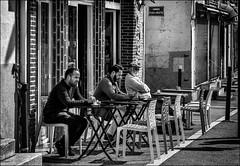 Trio pensif... / Thoughtful trio... (vedebe) Tags: noiretblanc netb nb bw monochrome humain human people homme ville city street rue urbain urban urbanarte perpignan france