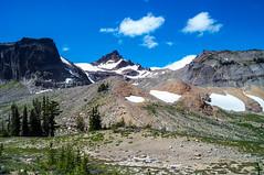 Gilbert and Tieton Peaks and late summer snow fields (Ken Zaremba) Tags: cascademountains geography gilbertpeak goatrockswilderness northamerica outdooractivities outdoorsports snoqualmienationalforest tietonpeak unitedstates washington washingtonstate backpacking camping hiking meadow snowfield yakima geo:lon=12139214516667 geo:state=washington geo:location=unnamedroad geo:lat=46494492583333 geo:country=unitedstates geo:city=yakima