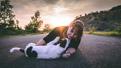 Pure love (romanhrbek) Tags: jrt jack russell terrier sony alpha a6500 road sunset backround sun sigma 16mm 14 my love smile flare grass trees look sky colours