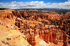 Red Rock Country (dorameulman) Tags: rocks red dorameulman utah brycecanyon redrocks sculpture naturessculptures art nature canyon sky clouds hiker mountains haiku canon7dmark11 canon