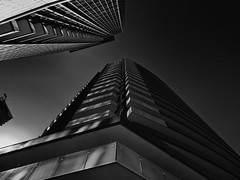 Skyscraper, Toronto, Ontario (duaneschermerhorn) Tags: toronto ontario canada city urban downtown architecture building skyscraper structure highrise architect modern contemporary modernarchitecture contemporaryarchitecture black white blackandwhite blackwhite bw noire noir blanc blanco schwartz weiss