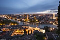 Verona - Italy (Dennis van Dijk) Tags: adige river verona ponte pietra mountain blue hour night photography lights cityscape italy europe travel view long exposure le