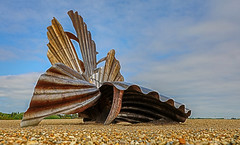 Scallop (Tony Smith Photo's) Tags: aldeburgh beach blue britain coast eastanglia england hdr pebbles sculpture sea shore sky suffolk uk beautiful benjaminbritten landscape maggihambling pebbless scallop shell steel