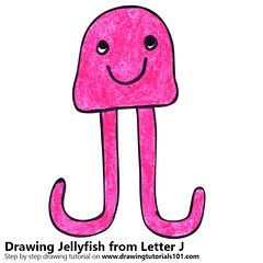 Jellyfish from Letter J (drawingtutorials101.com) Tags: jellyfish from letter j with animals letters animal fish sketching sketch sketches draw drawing drawings color colors coloring how pencil pencils