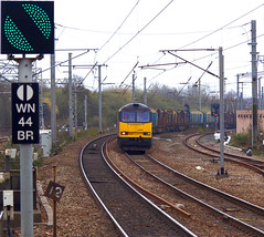 Heading Home (Stapleton Road) Tags: logs class60 dull signal green wigan diesel freight track railway