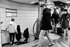 Human Corkscrew (Douguerreotype) Tags: tube urban monochrome spiral underground street city bw station uk metro sign british england mono blackandwhite stairs candid britain gb london subway tunnel helix people steps bank