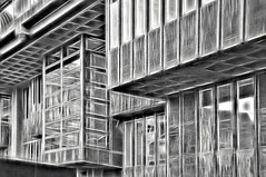QEII Center - Heavy Metal Variation (dougbank) Tags: outdoors outside artsy architecture painterly digitalartpainting buildings windows topazglow abstract reflections brutalist london blackandwhite bw monotone