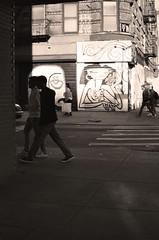 downtowners (sjnnyny) Tags: nikonf100 film stevenj sjnnyny urban streetphoto nyc downtown tenement streetart mural stores people
