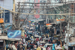 Bustling New Delhi India (AdamCohn) Tags: adamcohn delhi india newdelhi crowd humanity powerlines streetphotographer streetphotography wires wwwadamcohncom
