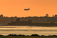 Permission to Land (ianbonnell) Tags: aeroplane plane liverpool mersey merseyside estuary hale lighthouse goldenhour