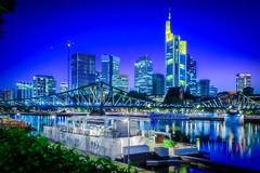 Blue hour in Frankfurt am Main (oliver.nispel) Tags: 069 frankfurtammain hdr outdoor style city cityscape ffm frankfurt germany hesse main mainhattan night nightshot place river sky skyline urban urbex hessen de commerzbank eisernersteg