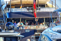 Dancing on the boat  ♪♫ (Fnikos) Tags: port puerto porto harbour harbor boat ship people dance outdoor