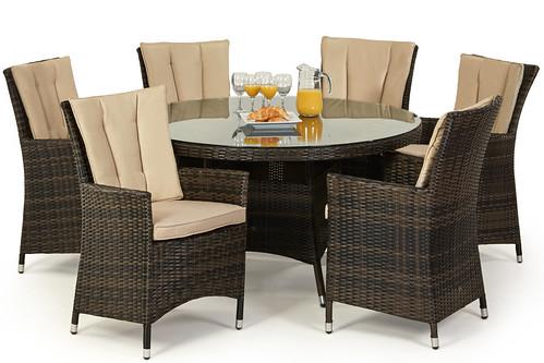 Maze Rattan La 6 Seat round Garden dining set - Rattan Furniture Fairy