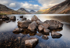 Evening on Wastwater (Pete Rowbottom, Wigan, UK) Tags: wastwater lakedistrict cumbria landscape waterscape rocky mountains brooding moody greatgable greengable yewbarrow screes peterowbottom longexposure stillwater clouds dramatic nikond750 wideangle nisifilters nikon1424f28 nisis5 awe beauty greatbritain england sunlight kirkfell