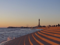 Blackpool Promenade at sunset (vintage vix - Everything is a miracle) Tags: blackpool promenade coast