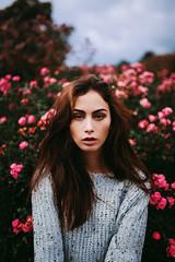 London Gardens (Savannah Daras) Tags: flowers garden london portrait girl woman beautiful pink vibrant fall sweater freckles model emotive expressive canon england uk longhair elegant tan nature shallowdof 35mm f14 bokeh staring intense strong