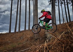 Log Drop (Gee & Kay Webb) Tags: mtb mountainbike bike bronson cycling cannockchase riding outdoors trails trees clouds