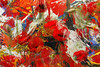 Red flowers in red field of abstraction (A_VIN) Tags: abstract red painting paint