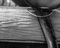 IMGP2027 (agianelo) Tags: chair detail fabric paint chipped monochrome bw blackandwhite