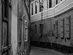 Behind closed doors (WT_fan06) Tags: blur aperture contrast black white bw blackandwhite depth field perspective angle nikon d3400 dslr photography art artistic artsy aesthetic street light shadow creepy alone spooky lonely eerie ghostly windows city urban brasov romania path alley pathway walk walkway way empty decay abandoned ugly dark darkness graffiti schwarz weiss rumanien kronstadt grey tone outdoors outside 7dwf flickr old building house strasse unknown scary mono design