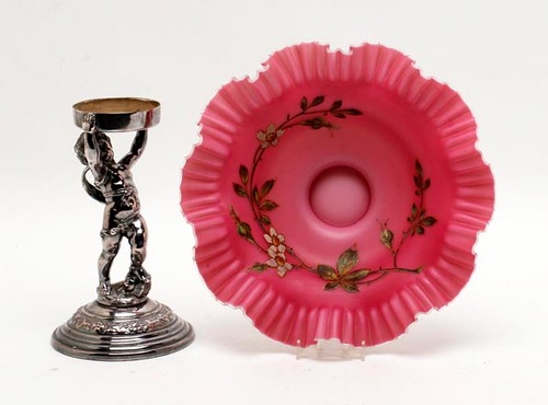 Bride's Bowl w/ Enameled Decoration and Metal Cherub Stand ($112.50)