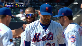 Matt Harvey's last game as a Met, 5/3/18: Matt Harvey gets a pat on the back from manager Mickey Callaway as he's taken out of the game with two out in the top of the 7th inning - Jerry Blevins will replace him (1.59.19)