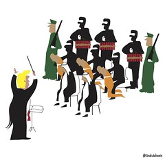 orchastra (khalid Albaih) Tags: khartoon khalidalbaih sudan cartoon illustration palestine israel gcc qatar mbs mbz trump السودان خرطون خالد البيه كركتير