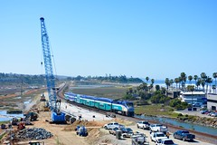 New Bridge at San Elijo (MikeArmstrong) Tags: trains railroads san diego coaster commuter bridge work construction track replace trestle crane ocean beach pacific lossan amtrak bnsf