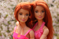 Twins (astramaore) Tags: twins redhead yoga made move pink dress spring long hair flowers bloom blooming