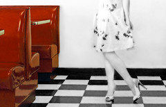 An Old Fashioned Curtsy (coollessons2004) Tags: vintage woman beautiful dress legs red