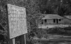 'Get Out' Sign (Nikon S2) (PositiveAboutNegatives) Tags: nikon rangefinder s2 vintagecamera nikons2 50mm nikkor yellowfilter film analog bw blackandwhitefilm rodinal foma fomapan fomapan100 arista coolscan brooksvillehousingauthority