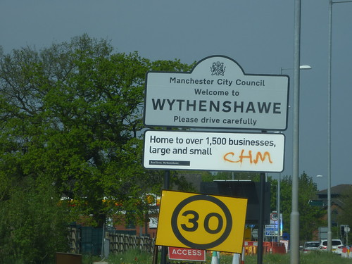 Manchester Airport - sign - Mancester City Council Welcome to Wythenshawe Please drive carefully