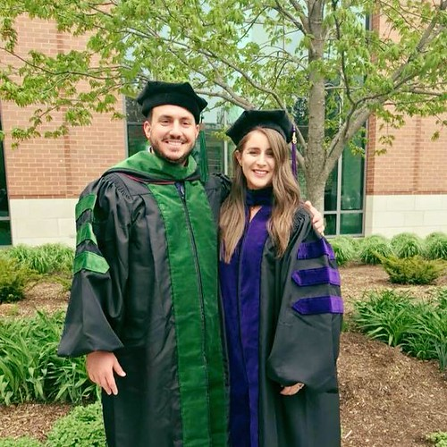 Chloe (Wilson) Sommers and Ron Sommers at their law school/med school graduations in Chicago.