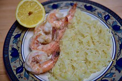 The focus is on the Shrimp..... (ineedathis, Everyday I get up, it's a great day!) Tags: dinner shrimp prawns seafood ricepilafnoodles greek food lemon nikond750